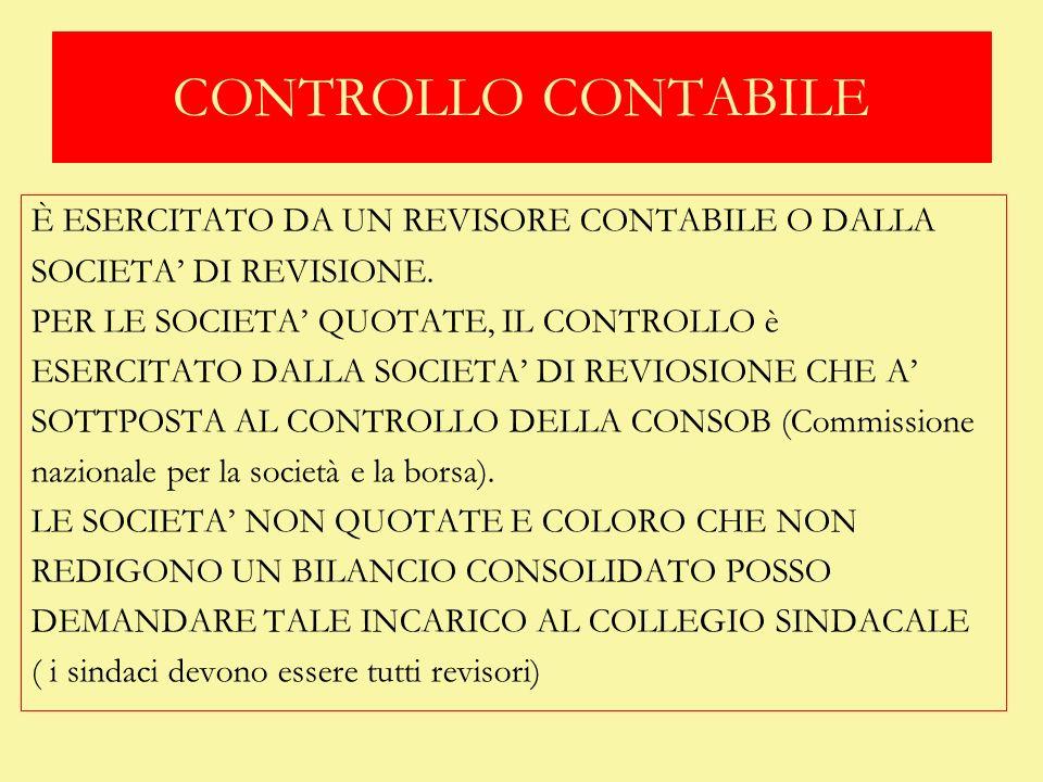 CONTROLLO CONTABILE È ESERCITATO DA UN REVISORE CONTABILE O DALLA SOCIETA DI REVISIONE. PER LE SOCIETA QUOTATE, IL CONTROLLO è ESERCITATO DALLA SOCIET