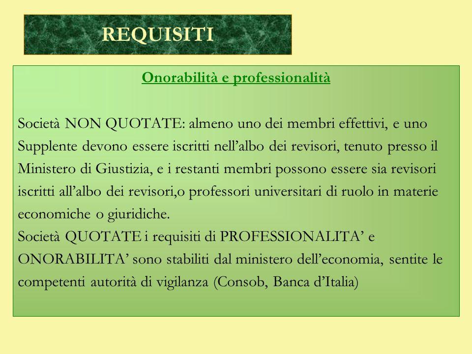 REQUISITI Onorabilità e professionalità Società NON QUOTATE: almeno uno dei membri effettivi, e uno Supplente devono essere iscritti nellalbo dei revi