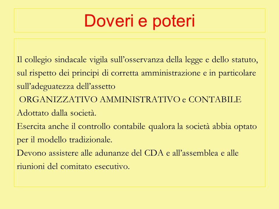 Doveri e poteri Il collegio sindacale vigila sullosservanza della legge e dello statuto, sul rispetto dei principi di corretta amministrazione e in pa