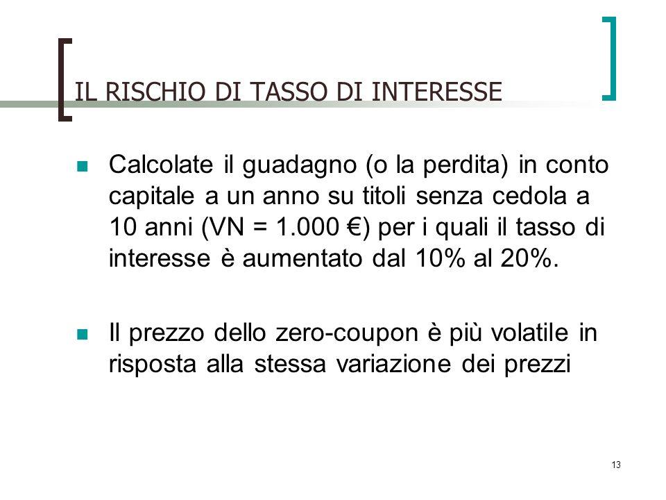 IL RISCHIO DI TASSO DI INTERESSE Calcolate il guadagno (o la perdita) in conto capitale a un anno su titoli senza cedola a 10 anni (VN = 1.000 ) per i