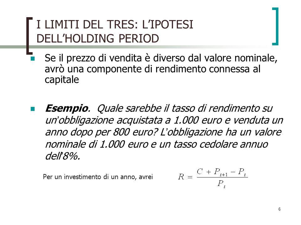 6 I LIMITI DEL TRES: LIPOTESI DELLHOLDING PERIOD Se il prezzo di vendita è diverso dal valore nominale, avrò una componente di rendimento connessa al