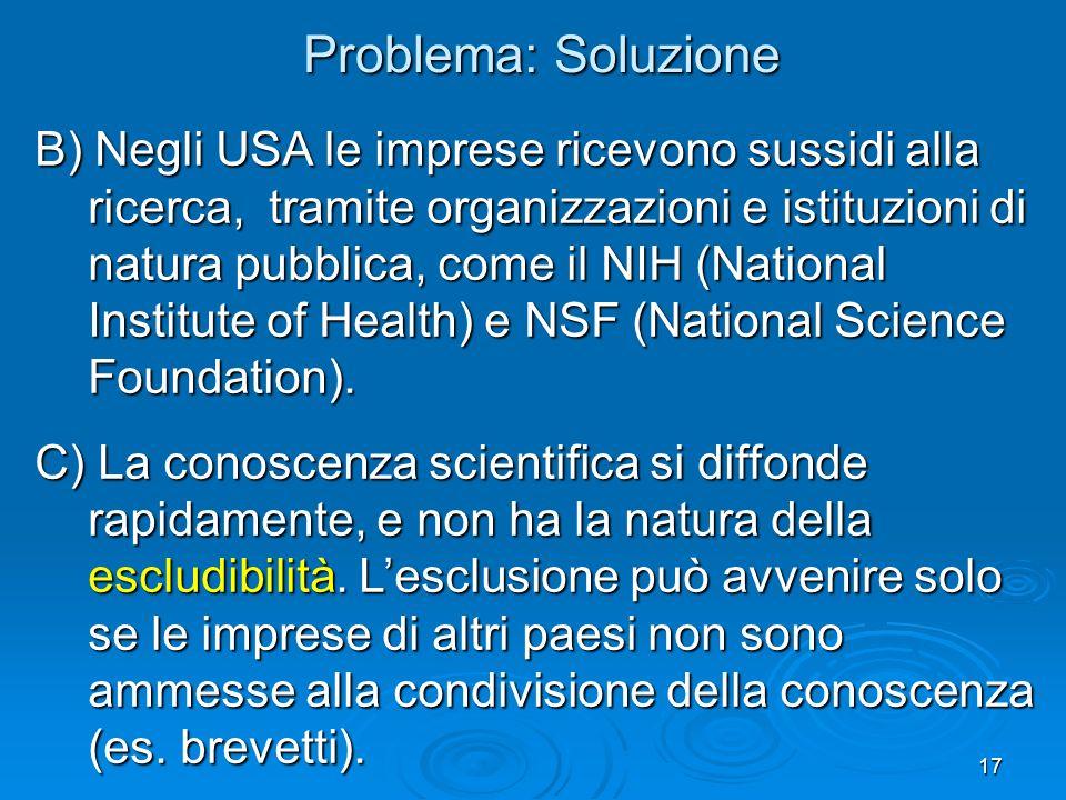 17 B) Negli USA le imprese ricevono sussidi alla ricerca, tramite organizzazioni e istituzioni di natura pubblica, come il NIH (National Institute of Health) e NSF (National Science Foundation).