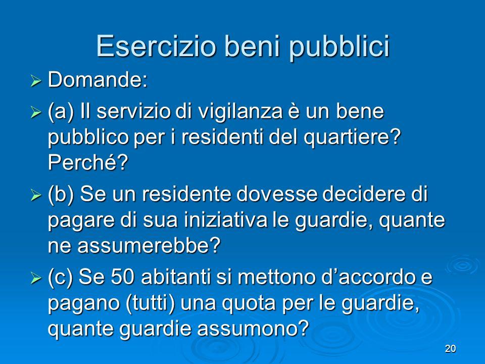 20 Esercizio beni pubblici Domande: Domande: (a) Il servizio di vigilanza è un bene pubblico per i residenti del quartiere? Perché? (a) Il servizio di