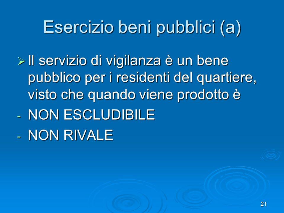 21 Esercizio beni pubblici (a) Il servizio di vigilanza è un bene pubblico per i residenti del quartiere, visto che quando viene prodotto è Il servizio di vigilanza è un bene pubblico per i residenti del quartiere, visto che quando viene prodotto è - NON ESCLUDIBILE - NON RIVALE