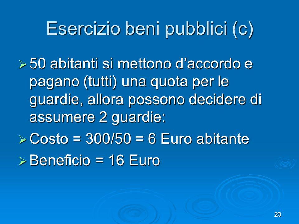 23 Esercizio beni pubblici (c) 50 abitanti si mettono daccordo e pagano (tutti) una quota per le guardie, allora possono decidere di assumere 2 guardie: 50 abitanti si mettono daccordo e pagano (tutti) una quota per le guardie, allora possono decidere di assumere 2 guardie: Costo = 300/50 = 6 Euro abitante Costo = 300/50 = 6 Euro abitante Beneficio = 16 Euro Beneficio = 16 Euro