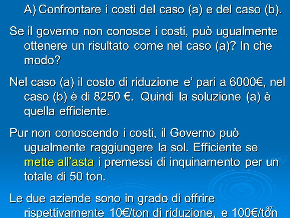 37 A)Confrontare i costi del caso (a) e del caso (b). Se il governo non conosce i costi, può ugualmente ottenere un risultato come nel caso (a)? In ch