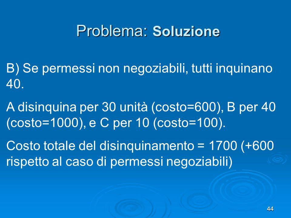 44 B) Se permessi non negoziabili, tutti inquinano 40. A disinquina per 30 unità (costo=600), B per 40 (costo=1000), e C per 10 (costo=100). Costo tot