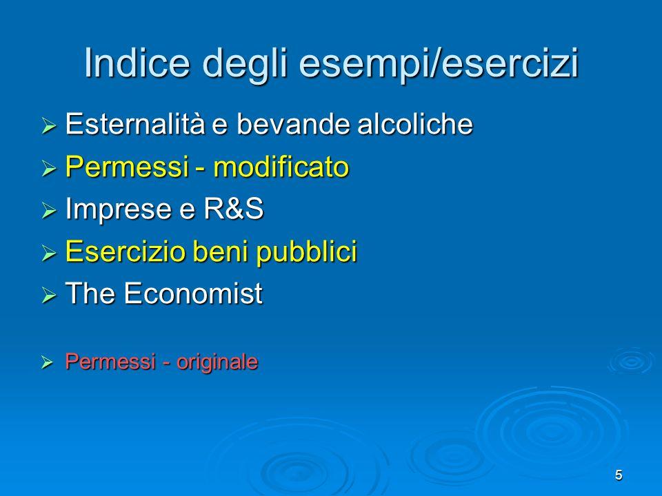 5 Indice degli esempi/esercizi Esternalità e bevande alcoliche Esternalità e bevande alcoliche Permessi - modificato Permessi - modificato Imprese e R