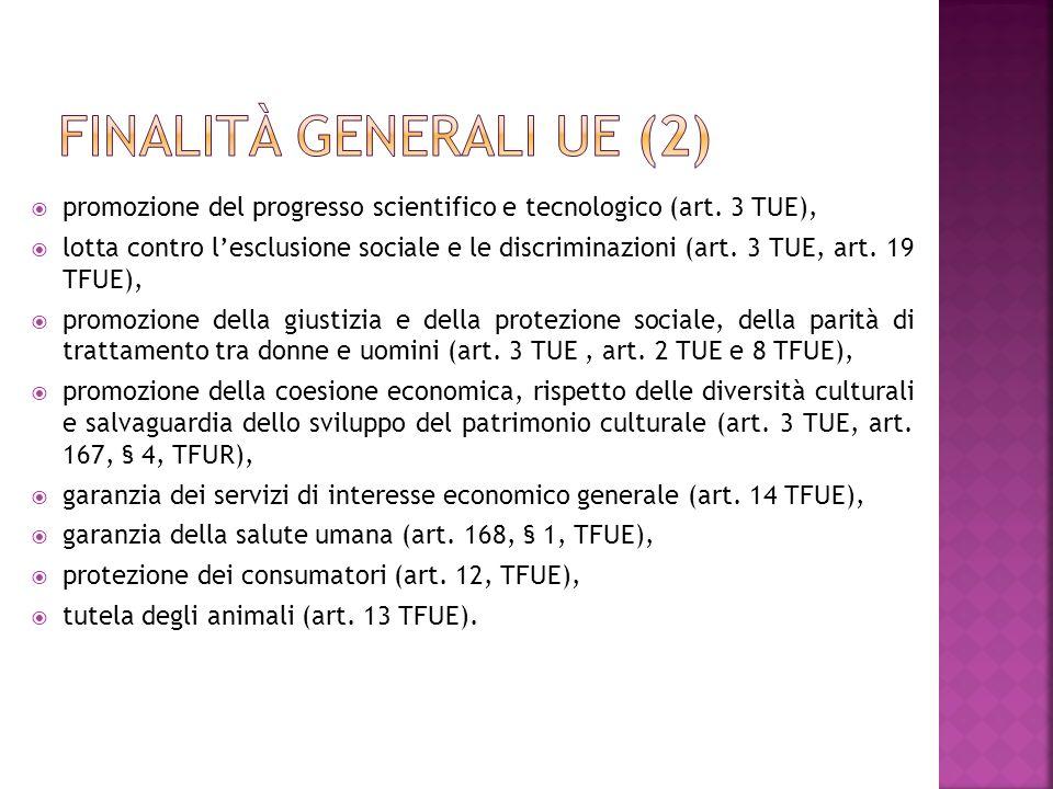 promozione del progresso scientifico e tecnologico (art. 3 TUE), lotta contro lesclusione sociale e le discriminazioni (art. 3 TUE, art. 19 TFUE), pro