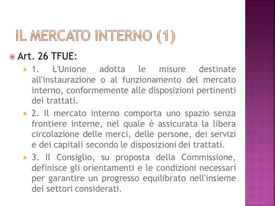 Art. 26 TFUE: 1. L'Unione adotta le misure destinate all'instaurazione o al funzionamento del mercato interno, conformemente alle disposizioni pertine