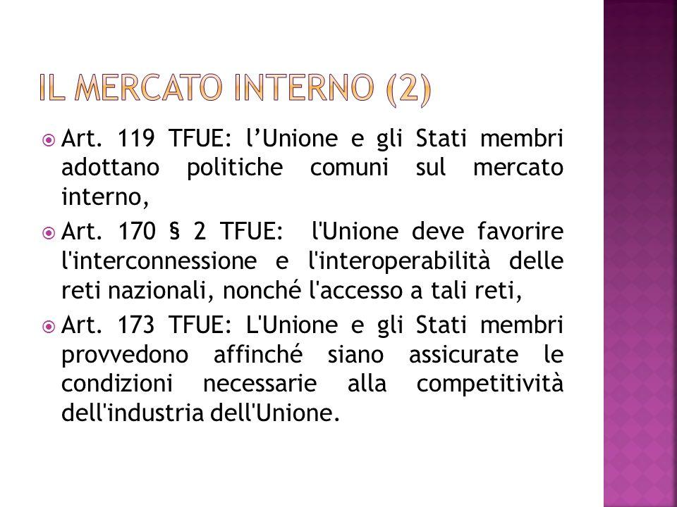 Art. 119 TFUE: lUnione e gli Stati membri adottano politiche comuni sul mercato interno, Art. 170 § 2 TFUE: l'Unione deve favorire l'interconnessione