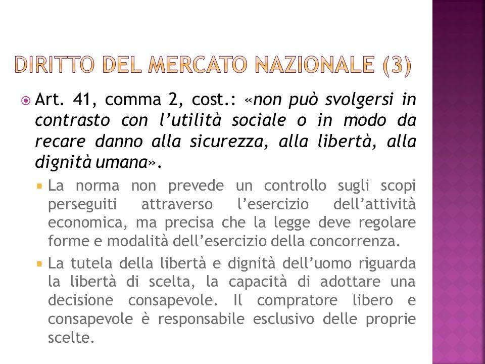 Art. 41, comma 2, cost.: «non può svolgersi in contrasto con lutilità sociale o in modo da recare danno alla sicurezza, alla libertà, alla dignità uma