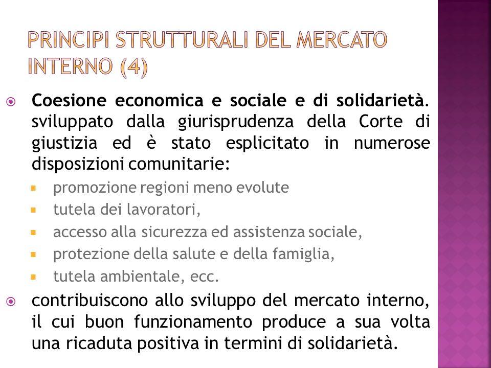Coesione economica e sociale e di solidarietà. sviluppato dalla giurisprudenza della Corte di giustizia ed è stato esplicitato in numerose disposizion