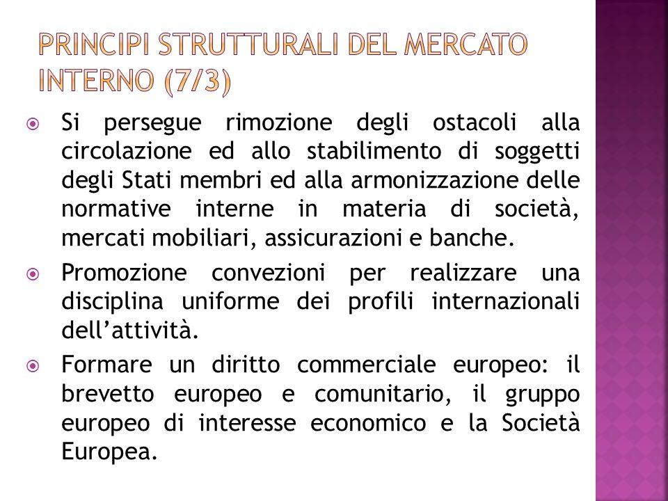 Si persegue rimozione degli ostacoli alla circolazione ed allo stabilimento di soggetti degli Stati membri ed alla armonizzazione delle normative inte