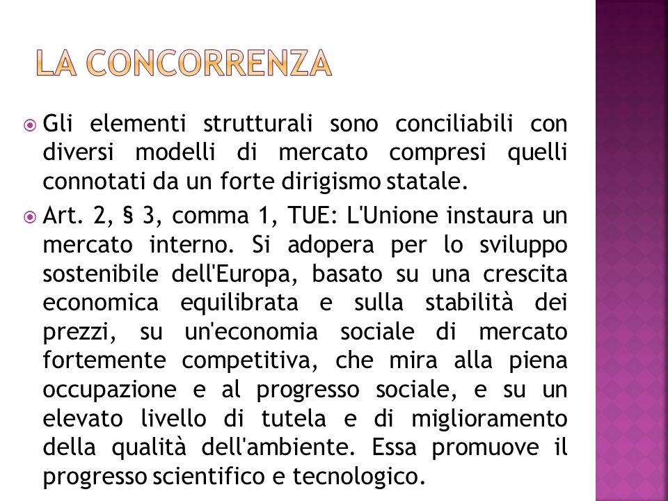 Gli elementi strutturali sono conciliabili con diversi modelli di mercato compresi quelli connotati da un forte dirigismo statale. Art. 2, § 3, comma