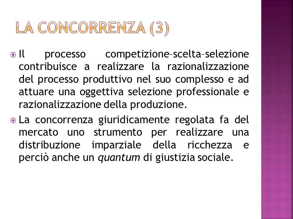 Il processo competizione–scelta–selezione contribuisce a realizzare la razionalizzazione del processo produttivo nel suo complesso e ad attuare una og