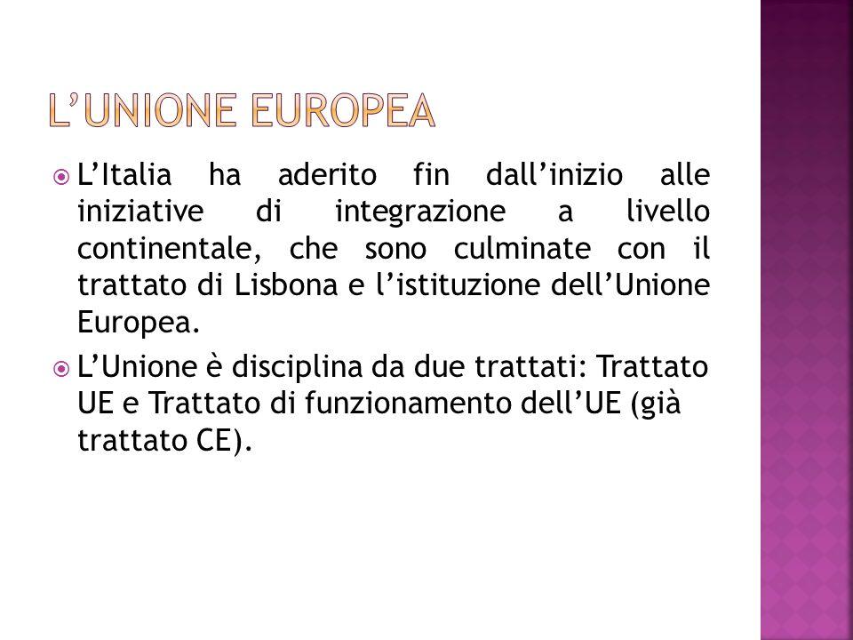 LItalia ha aderito fin dallinizio alle iniziative di integrazione a livello continentale, che sono culminate con il trattato di Lisbona e listituzione