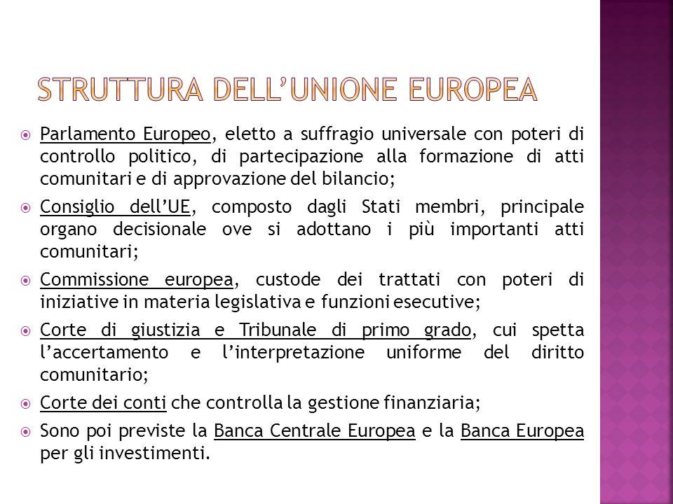 Parlamento Europeo, eletto a suffragio universale con poteri di controllo politico, di partecipazione alla formazione di atti comunitari e di approvaz