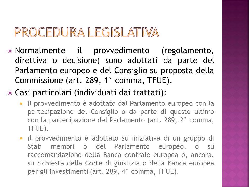 Normalmente il provvedimento (regolamento, direttiva o decisione) sono adottati da parte del Parlamento europeo e del Consiglio su proposta della Comm