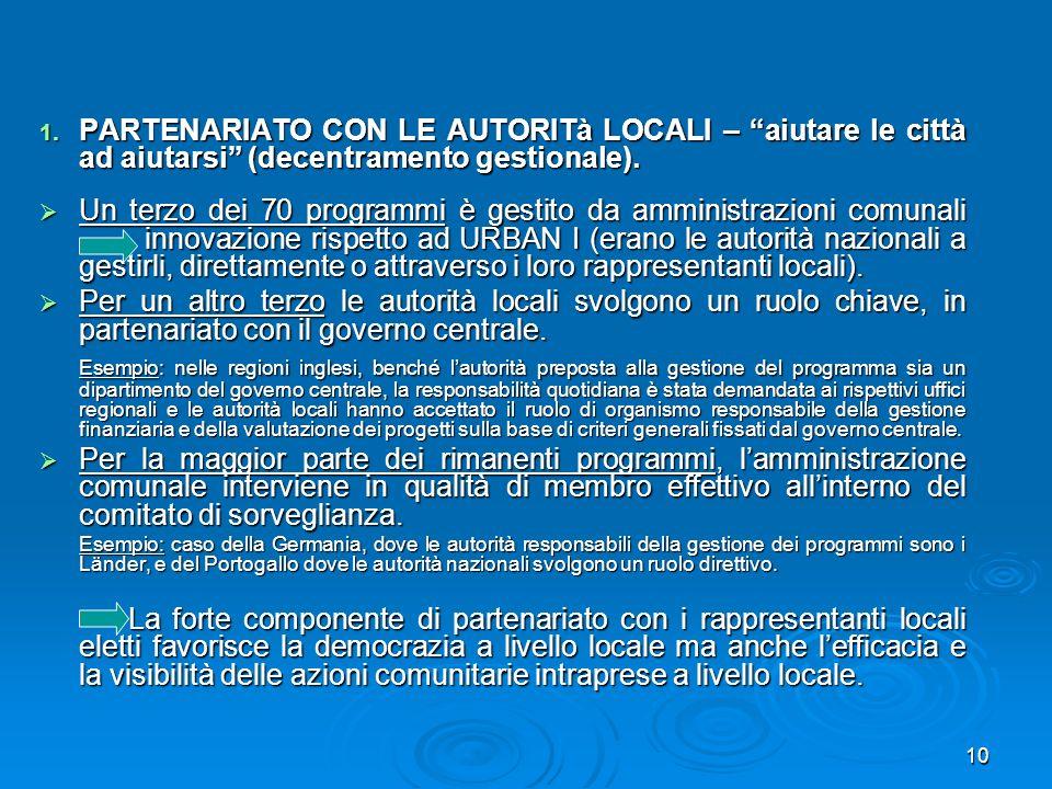 10 1. PARTENARIATO CON LE AUTORITà LOCALI – aiutare le città ad aiutarsi (decentramento gestionale). Un terzo dei 70 programmi è gestito da amministra