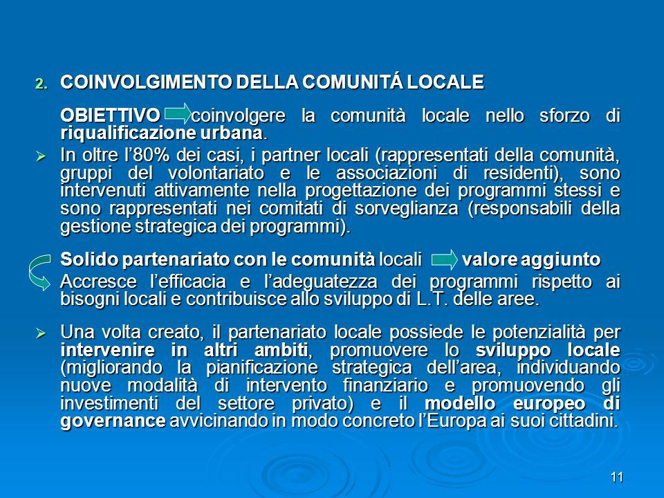 11 2. COINVOLGIMENTO DELLA COMUNITÁ LOCALE OBIETTIVO coinvolgere la comunità locale nello sforzo di riqualificazione urbana. In oltre l80% dei casi, i