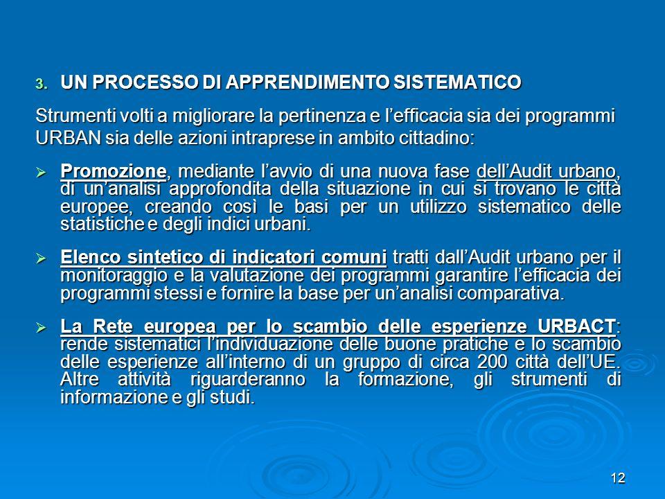12 3. UN PROCESSO DI APPRENDIMENTO SISTEMATICO Strumenti volti a migliorare la pertinenza e lefficacia sia dei programmi URBAN sia delle azioni intrap