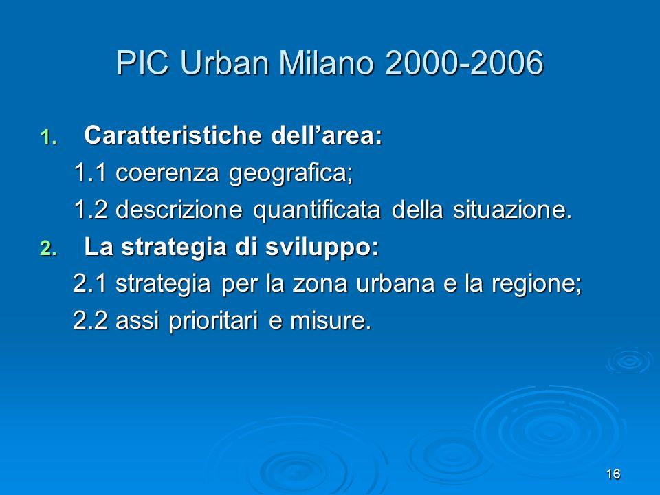 16 PIC Urban Milano 2000-2006 1. Caratteristiche dellarea: 1.1 coerenza geografica; 1.2 descrizione quantificata della situazione. 2. La strategia di