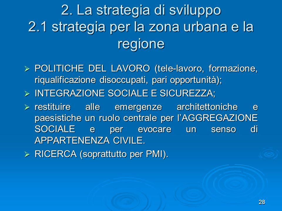28 2. La strategia di sviluppo 2.1 strategia per la zona urbana e la regione POLITICHE DEL LAVORO (tele-lavoro, formazione, riqualificazione disoccupa