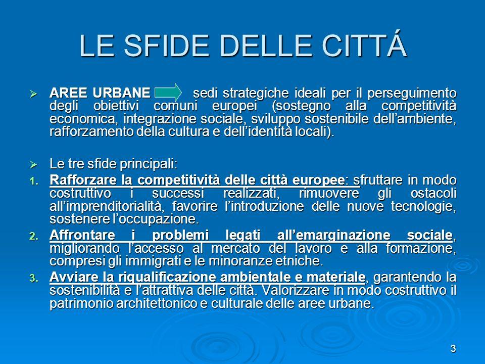 4 I FONDI STRUTTURALI Le città europee traggono vantaggio dalla politica di coesione: OBIETTIVO 1: favorire lo sviluppo delle regioni svantaggiate.