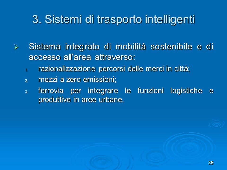 35 3. Sistemi di trasporto intelligenti Sistema integrato di mobilità sostenibile e di accesso allarea attraverso: Sistema integrato di mobilità soste