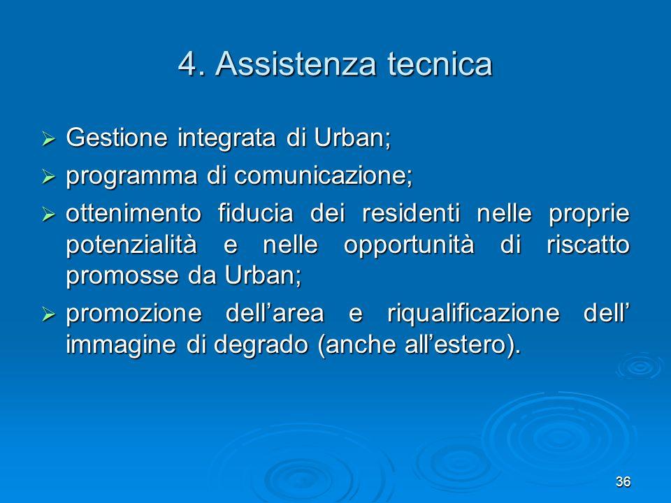 36 4. Assistenza tecnica Gestione integrata di Urban; Gestione integrata di Urban; programma di comunicazione; programma di comunicazione; ottenimento