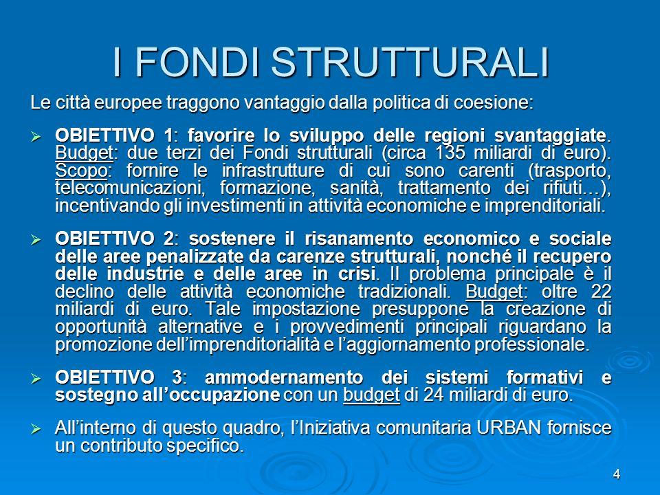 4 I FONDI STRUTTURALI Le città europee traggono vantaggio dalla politica di coesione: OBIETTIVO 1: favorire lo sviluppo delle regioni svantaggiate. Bu