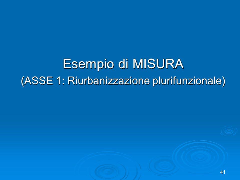 41 Esempio di MISURA (ASSE 1: Riurbanizzazione plurifunzionale)