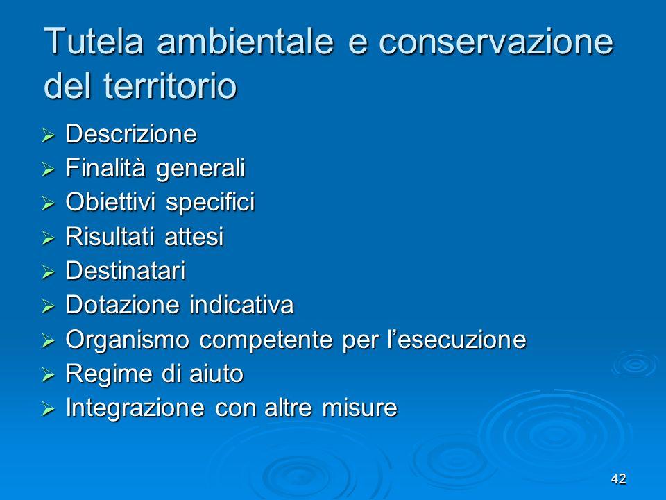 42 Tutela ambientale e conservazione del territorio Descrizione Descrizione Finalità generali Finalità generali Obiettivi specifici Obiettivi specific