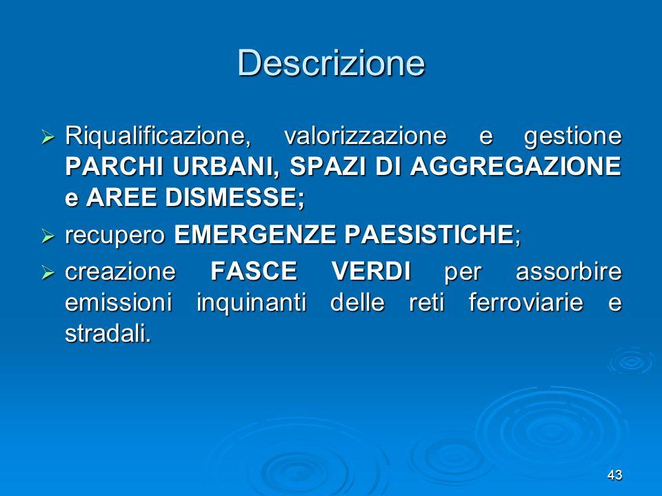 43 Descrizione Riqualificazione, valorizzazione e gestione PARCHI URBANI, SPAZI DI AGGREGAZIONE e AREE DISMESSE; Riqualificazione, valorizzazione e ge