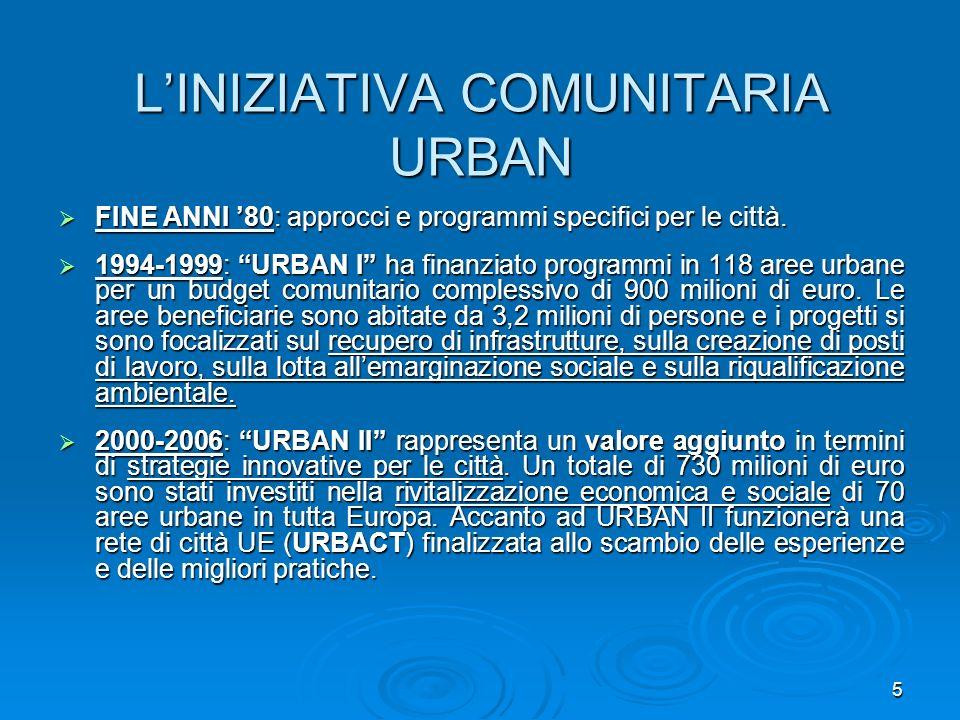 5 LINIZIATIVA COMUNITARIA URBAN FINE ANNI 80: approcci e programmi specifici per le città. FINE ANNI 80: approcci e programmi specifici per le città.
