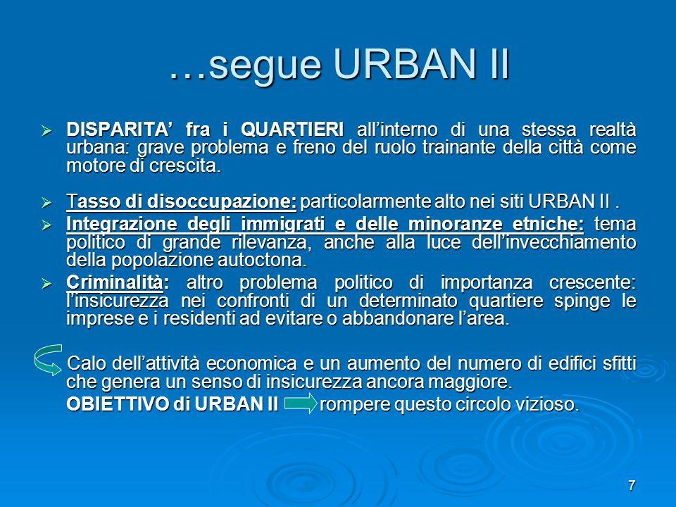 7 …segue URBAN II DISPARITA fra i QUARTIERI allinterno di una stessa realtà urbana: grave problema e freno del ruolo trainante della città come motore