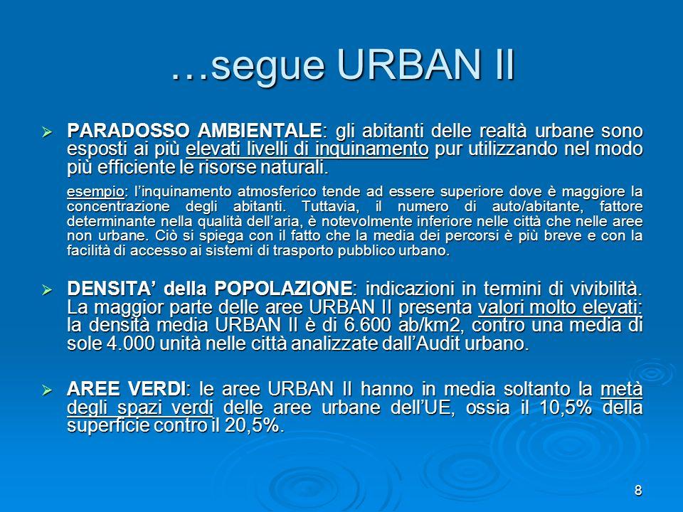 8 …segue URBAN II PARADOSSO AMBIENTALE: gli abitanti delle realtà urbane sono esposti ai più elevati livelli di inquinamento pur utilizzando nel modo