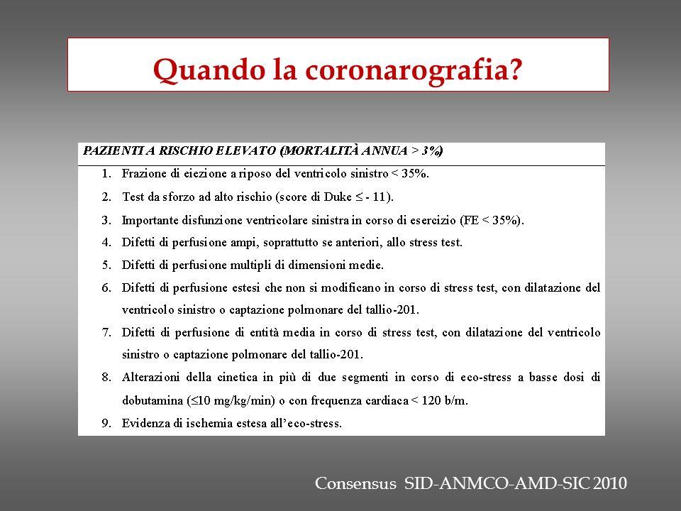 Consensus SID-ANMCO-AMD-SIC 2010 Quando la coronarografia?