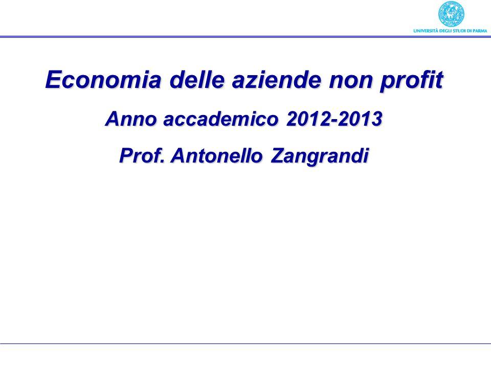 Economia delle aziende pubbliche Economia delle aziende non profit Anno accademico 2012-2013 Prof. Antonello Zangrandi