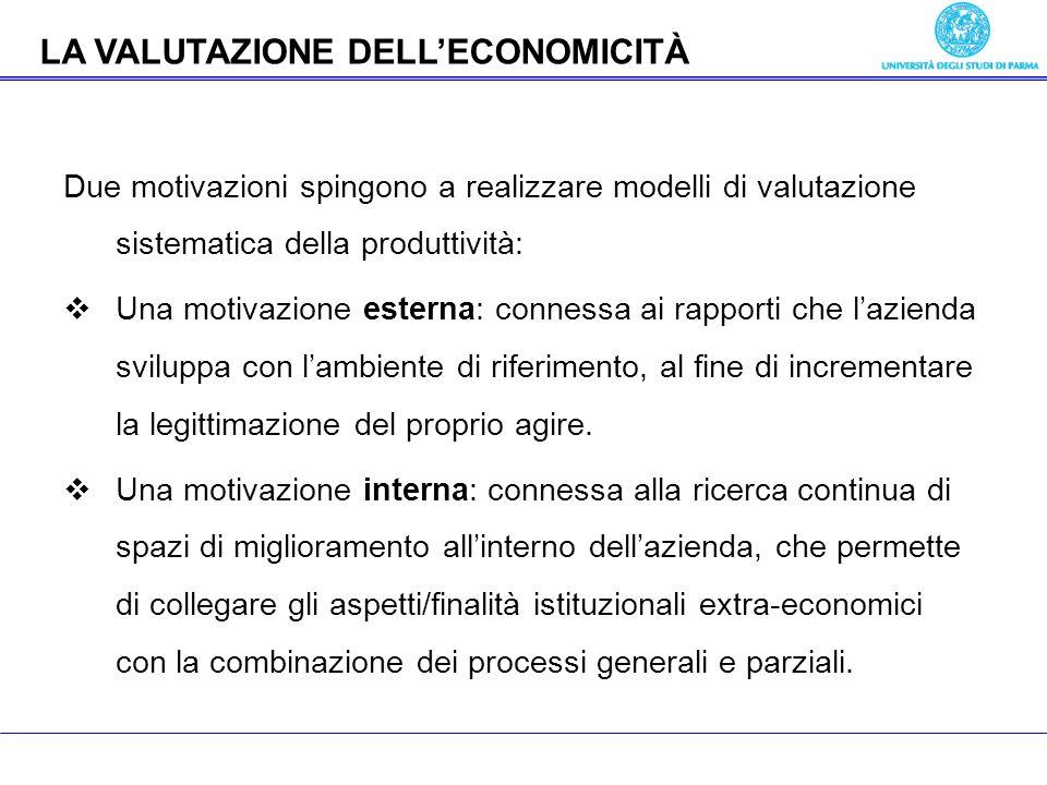 Economia delle aziende pubbliche Due motivazioni spingono a realizzare modelli di valutazione sistematica della produttività: Una motivazione esterna: