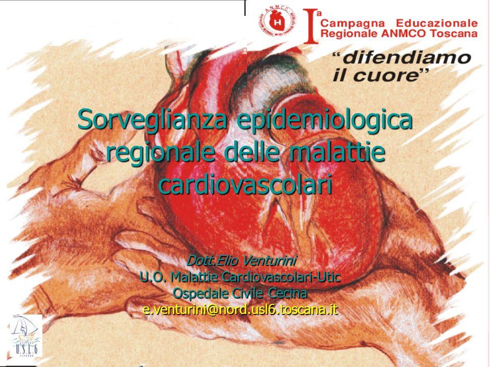U.O Cardiologia, Cecina1 Sorveglianza epidemiologica regionale delle malattie cardiovascolari Dott.Elio Venturini U.O. Malattie Cardiovascolari-Utic O