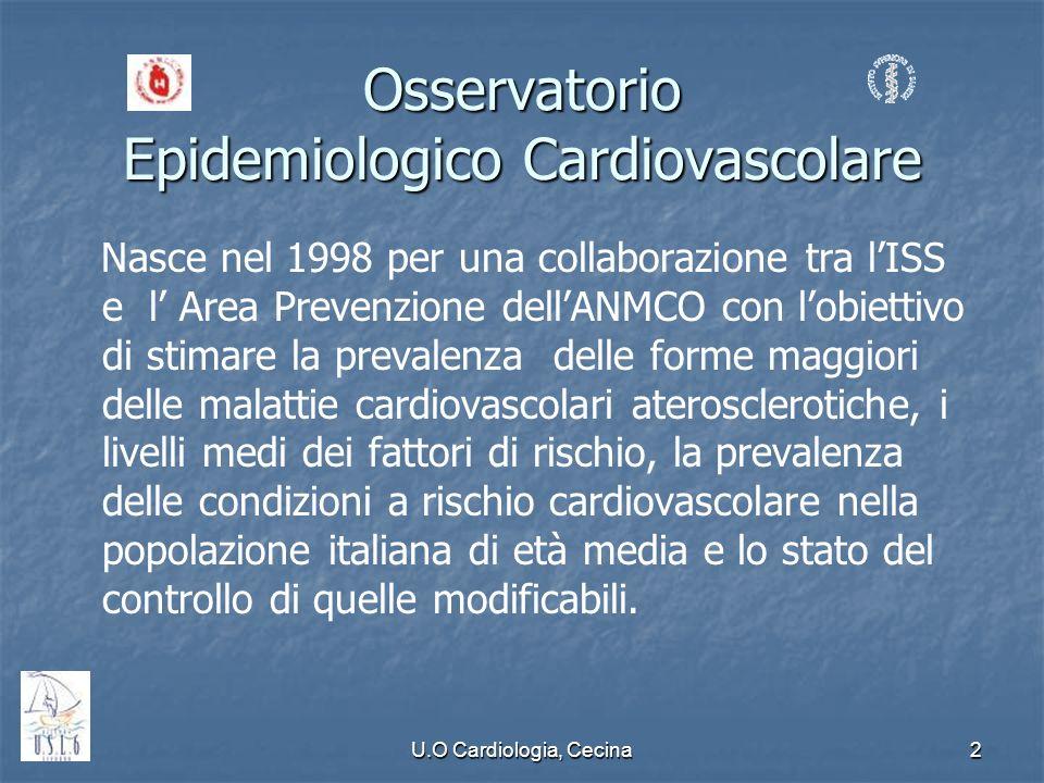 U.O Cardiologia, Cecina2 Osservatorio Epidemiologico Cardiovascolare Nasce nel 1998 per una collaborazione tra lISS e l Area Prevenzione dellANMCO con