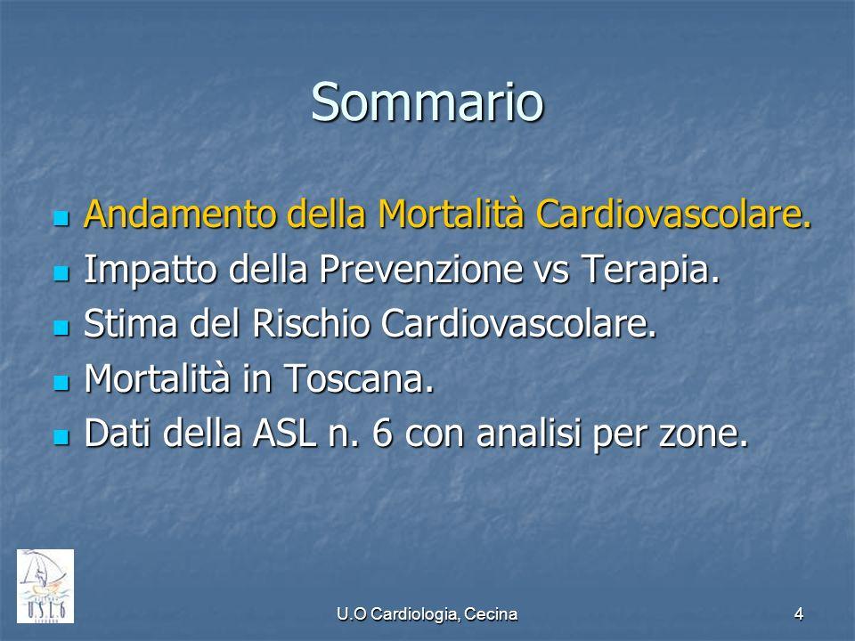 U.O Cardiologia, Cecina4 Sommario Andamento della Mortalità Cardiovascolare. Andamento della Mortalità Cardiovascolare. Impatto della Prevenzione vs T