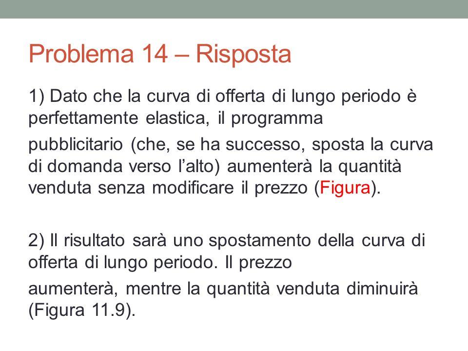 Problema 14 – Risposta 1) Dato che la curva di offerta di lungo periodo è perfettamente elastica, il programma pubblicitario (che, se ha successo, spo