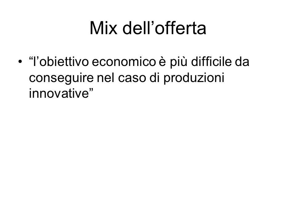 Mix dellofferta lobiettivo economico è più difficile da conseguire nel caso di produzioni innovative