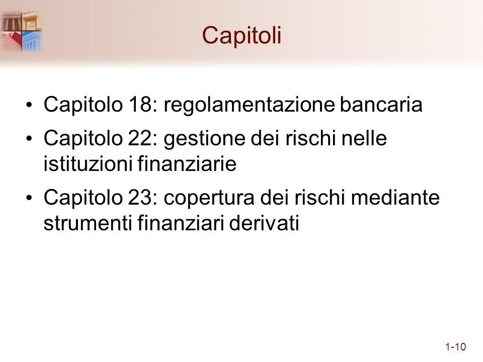 Capitoli Capitolo 18: regolamentazione bancaria Capitolo 22: gestione dei rischi nelle istituzioni finanziarie Capitolo 23: copertura dei rischi media