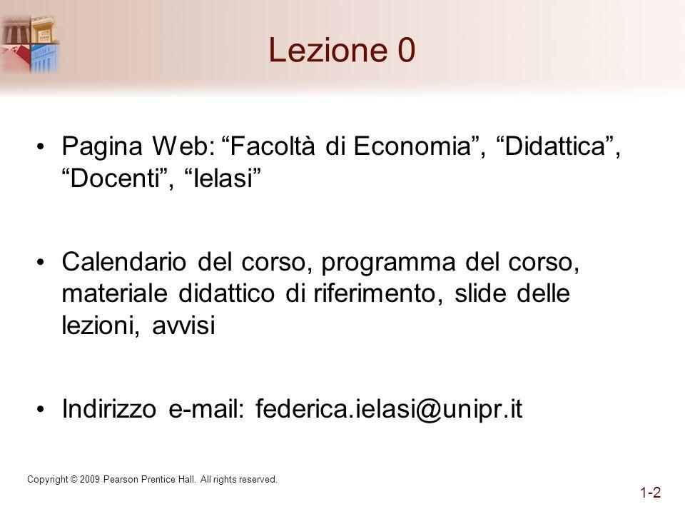 Lezione 0 Pagina Web: Facoltà di Economia, Didattica, Docenti, Ielasi Calendario del corso, programma del corso, materiale didattico di riferimento, s