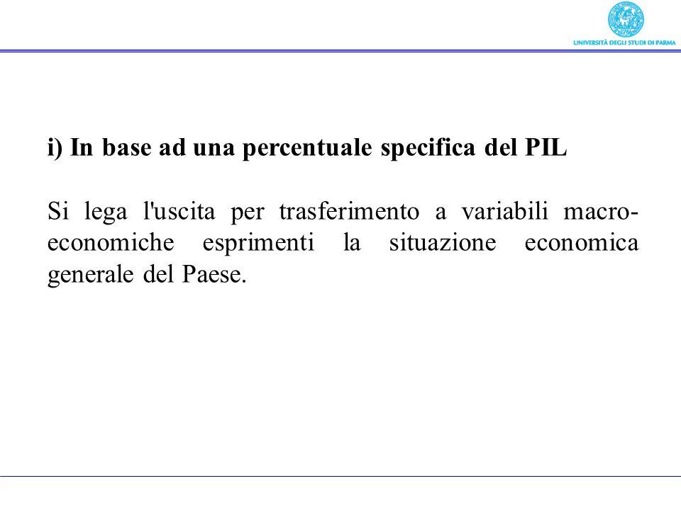 i) In base ad una percentuale specifica del PIL Si lega l'uscita per trasferimento a variabili macro- economiche esprimenti la situazione economica ge