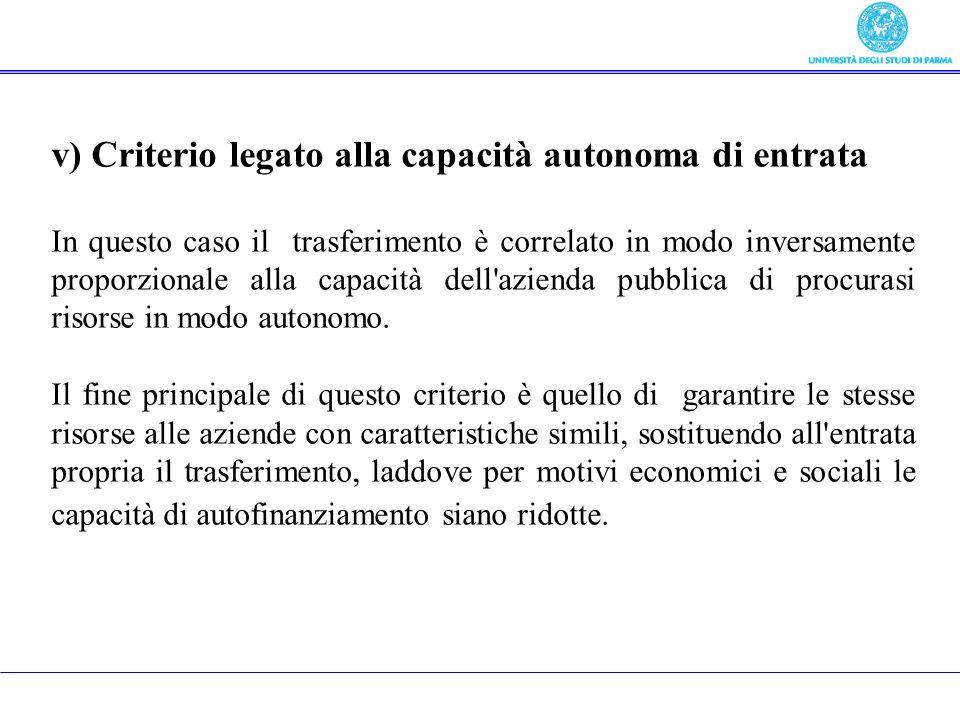 v) Criterio legato alla capacità autonoma di entrata In questo caso il trasferimento è correlato in modo inversamente proporzionale alla capacità dell
